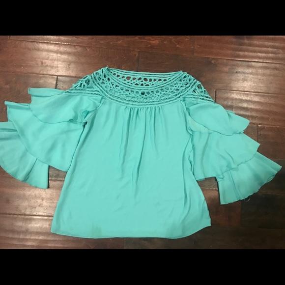 90748e75e98 Ruffle sleeve boutique mint green blouse crochet